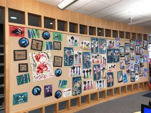 Maternelle art display at Princeton Public Library