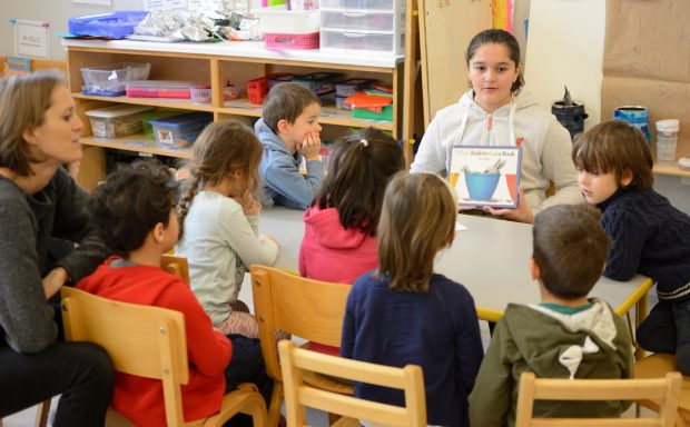 Middle School students share stories with Maternelle